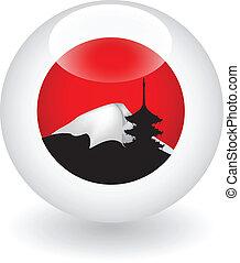 Japanese flag globe. Vector