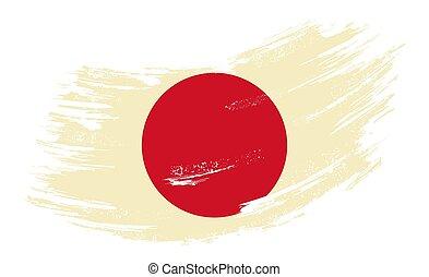 Japanese flag grunge brush background. Vector illustration.