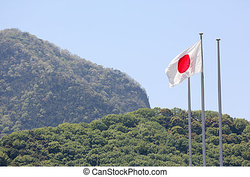 Japanese flag in wind