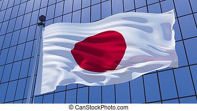 Japanese flag on skyscraper building background. Business concept. 3d illustration