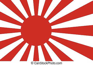 The rising sun Japemese flag in red and white