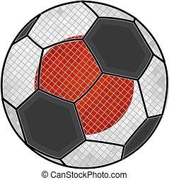 Japanese flag with soccer ball background