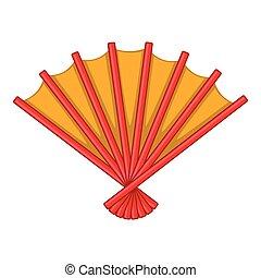 Japanese folding fan icon, cartoon style