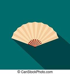 Japanese folding fan icon, flat style