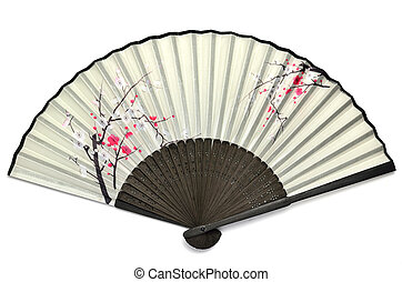 Japanese folding fan. - The Japanese folding fan containing...
