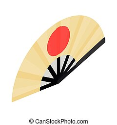 Japanese folding fan  with the rising sun icon