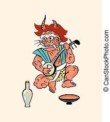 Demon playing a shamisen - Japanese folk-art from Otsu -...