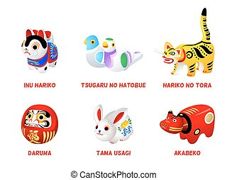 Japanese folk toys - Popular Japanese folk animal and zen...