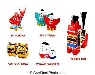 Japanese folk toys, set II - Popular Japanese folk animal...