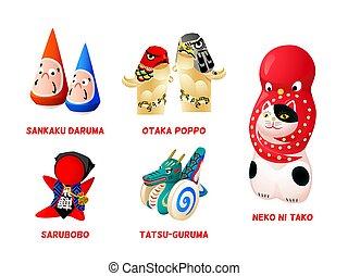 Japanese folk toys, set III
