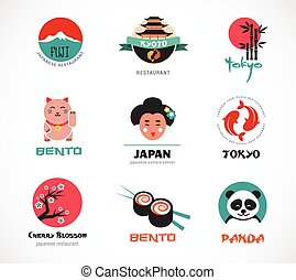 Japanese food and sushi icons, menu design