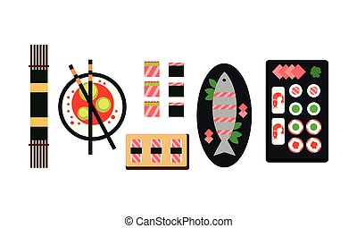 Japanese food dishes set, traditional Asian food menu, top view flat vector Illustration on a white background