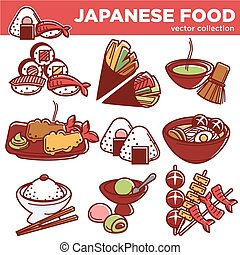 Japanese food dishes vector icons for Japan traditional...