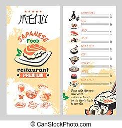 Japanese food for asian cuisine restaurant menu template....