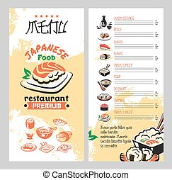 Chinese Restaurant Menu With Asian Cuisine Dishes Chinese