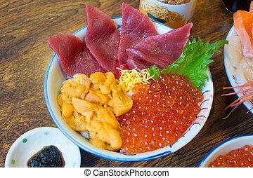 Japanese food, fresh fish and fish's roe.