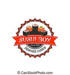 Japanese food icon of vector sushi box cafe - Japanese sushi...
