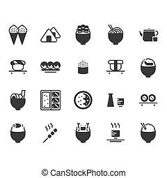 Japanese food icon set. Vector illustration