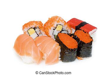 Japanese food isolated on white