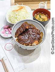 Japanese food miso buta katsu pork cutlet set with rice