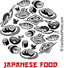 Japanese food poster and vector sushi and rolls - Japanese...