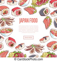Japanese food poster with asian cuisine dishes - Japanese...