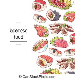 Japanese food poster with asian cuisine dishes. Octopus,...