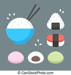 Japanese food rice dishes icon set. Bowl of rice with...