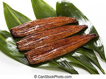 eel ( unagi ) - japanese food roast eel ( unagi ) on bamboo ...