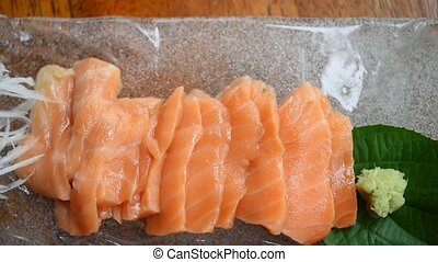 Japanese food sashimi salmon - Japanese food delicacy...