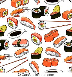 Japanese food seamless pattern background