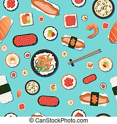 Japanese Food Seamless Pattern. Sushi with Different Rolls, Soup and Rice
