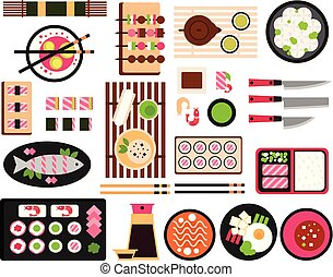 Japanese food set, Asian cuisine dishes top view vector...