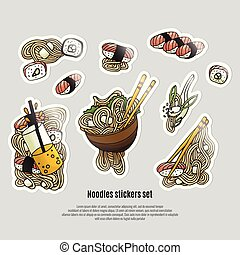 Japanese food stickers. Ramen and sushi doodle style. Asian...