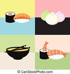 Japanese food Sushi Collection. Shrimp, dim sum, miso soup, roll. Web icon set.