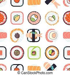 Japanese food sushi vector seamless pattern