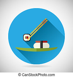 Japanese Food Symbol Sticks Holding Roll over the Plate with Sushil Icon on Stylish Background Modern Flat Design Vector Illustration