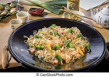 Japanese food,stir fired shrimps with cashew nuts a famous...