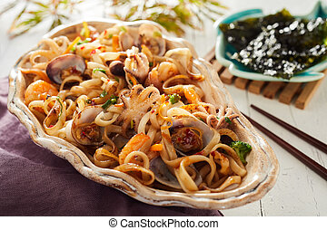 Japanese fried noodles with assorted seafood