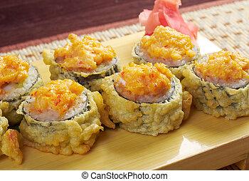 Japanese fried tempura sushi
