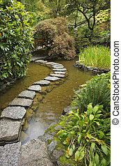 Japanese garden. A stream and path from stones