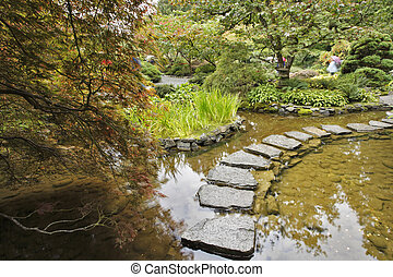 Japanese garden. A stream and path