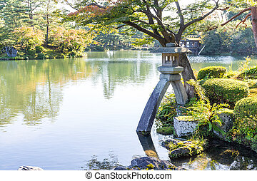 Japanese garden and stone lantern