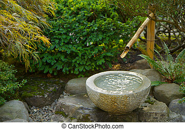 Japanese garden bamboo foutain