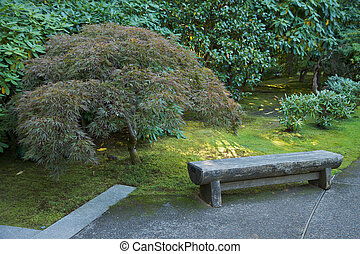 Japanese garden bench - Japanese garden stone bench next to...