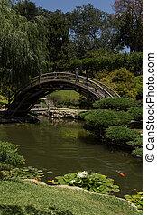 Japanese garden bridge over pond