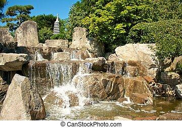 Japanese Garden Cascades - Cascades in the Japanese gardens ...