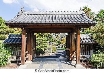 Zen Garden Entrance Stone Steps And Open Gate In Japanese Zen