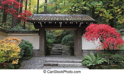Japanese Garden in Colorful Autumn