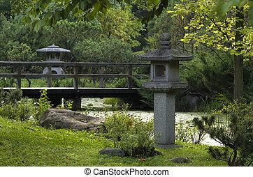 japanese garden in the summer day